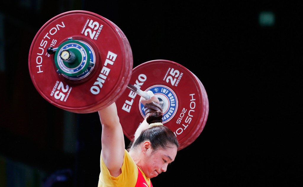China's Yue Kang won the women's 75 kilogram snatch and overall gold medals ©Getty Images