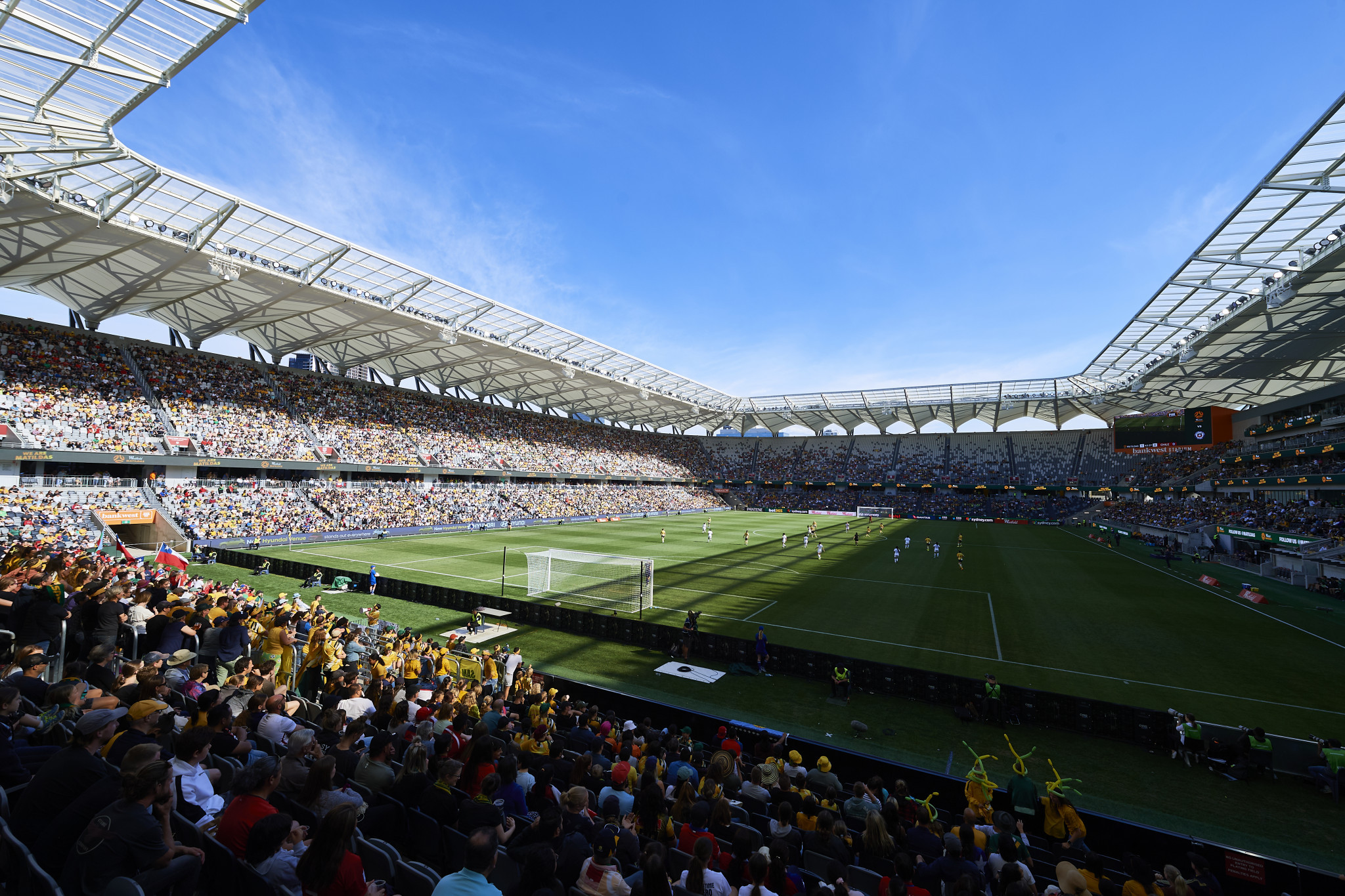 A record crowd watched Australia defeat Chile, in a week where the Matildas secured an equal pay deal ©Twitter