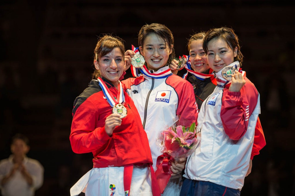 Kiyou Shimizu struck gold in the women's kata event at the Karate1 Premier League competition in Okinawa ©Xavier Servolle/WKF