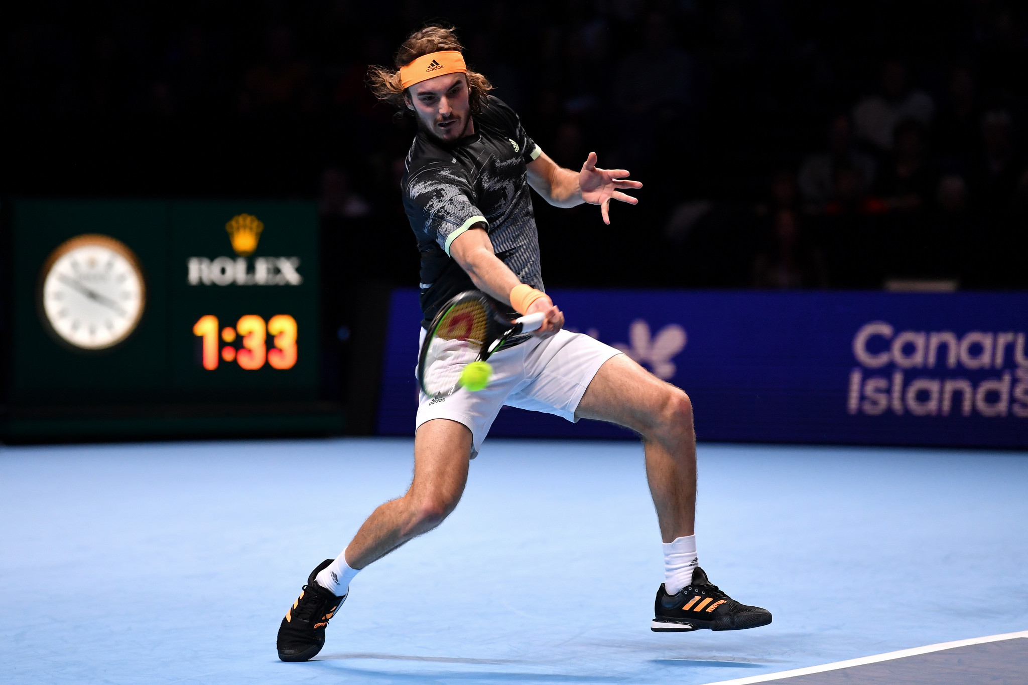 Greece's Stefanos Tsitsipas won his first-ever match at the ATP Finals ©Getty Images