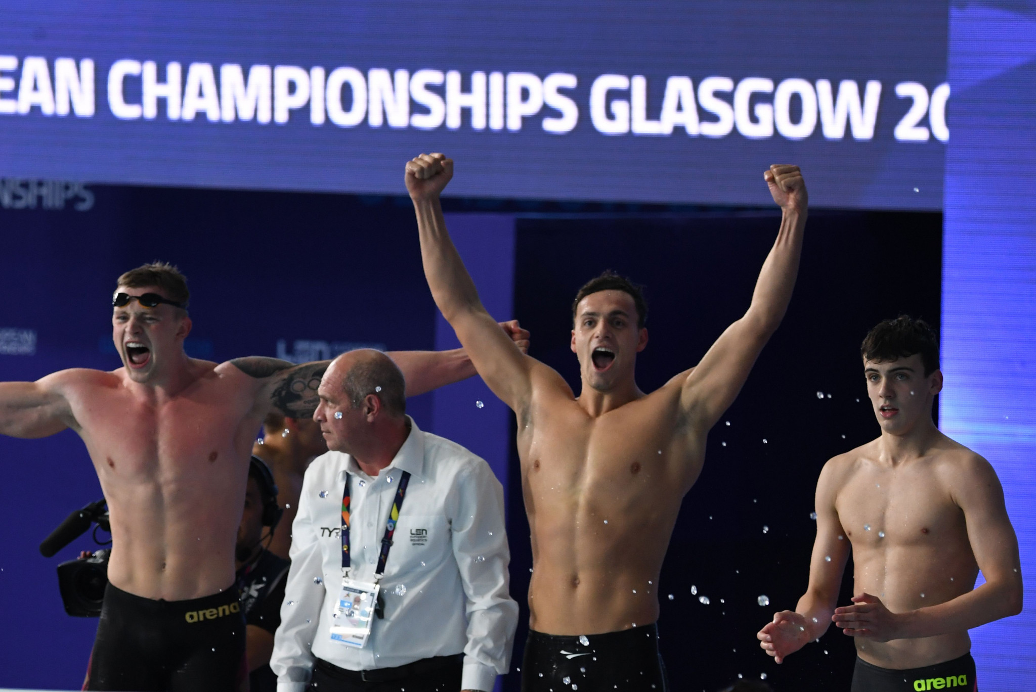 Aquatics featured in Glasgow in 2018 but has not been confirmed for 2022 ©Getty Images