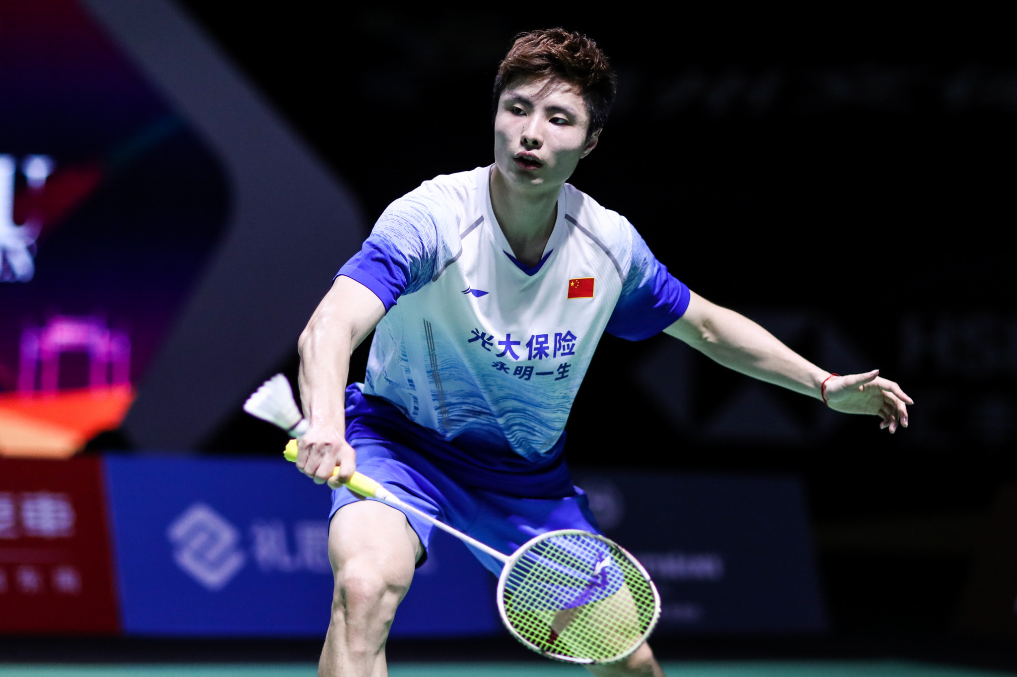 Shi Yuqi won his first round match with a toe blister ©Getty Images