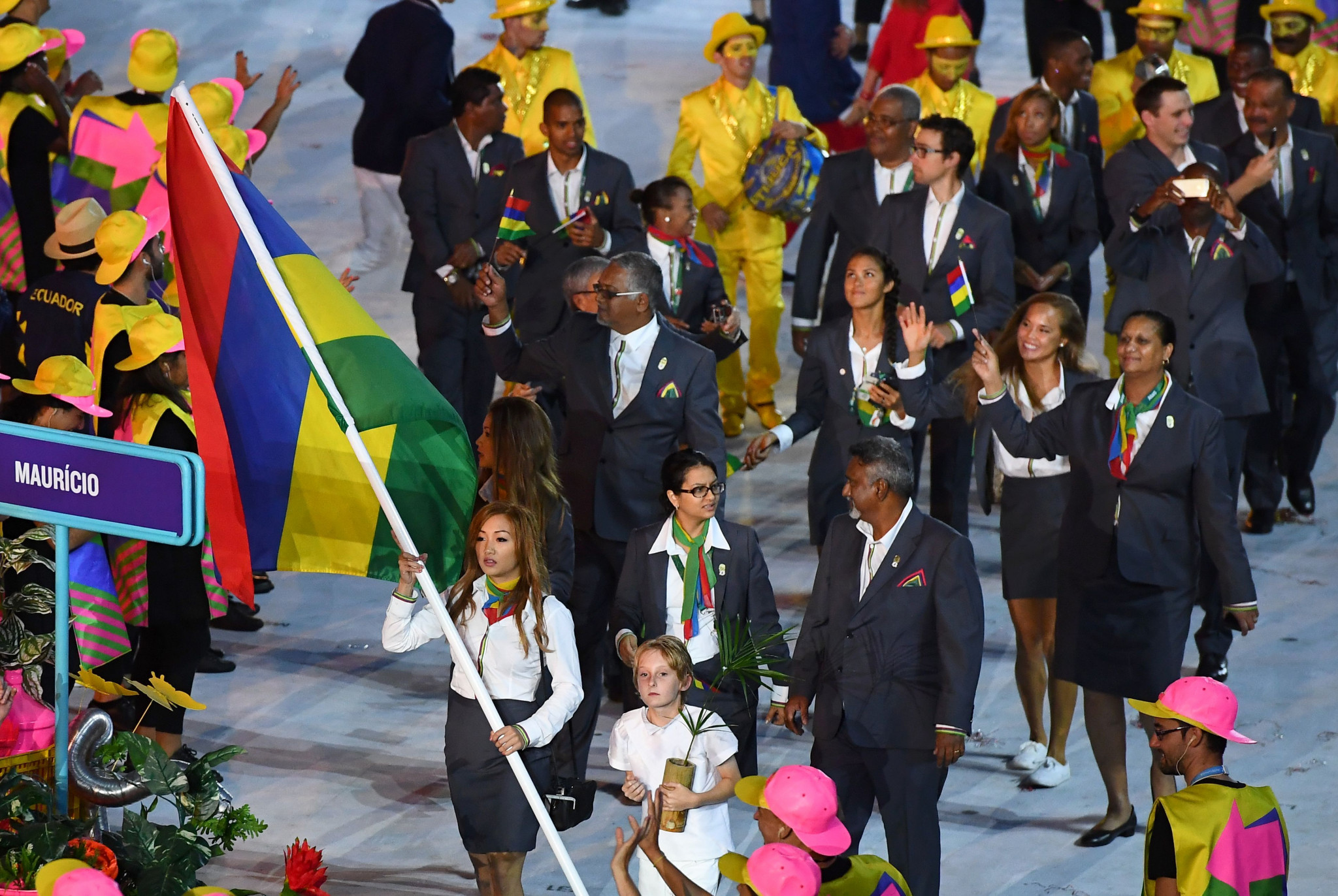 Kate Foo Kune carried Mauritius' flag during the Rio 2016 Opening Ceremony ©Getty Images
