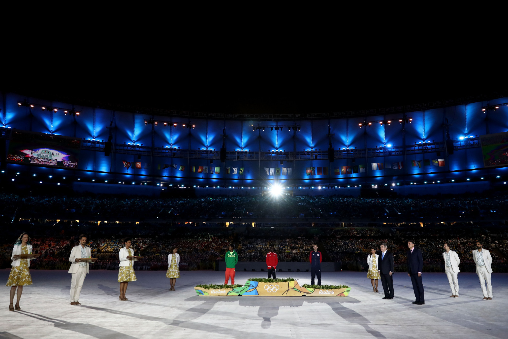 It has become an Olympic tradition for the men's marathon to be the last athletics event of the Games and for the medals to be presented during the Closing Ceremony ©Getty Images