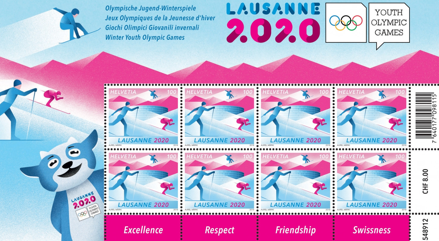 The set of one-franc stamps branded in the colours of Lausanne 2020 were designed by artist Aurel Märki ©Lausanne 2020