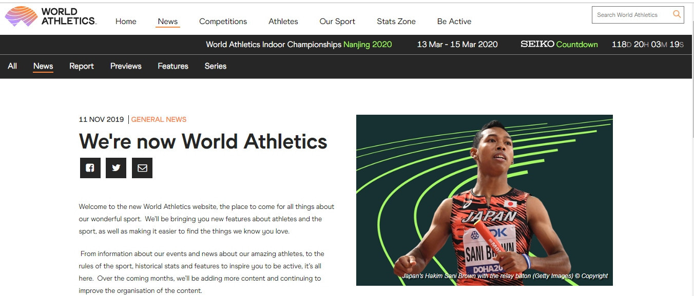 World Athletics has officially replaced the International Association of Athletics Federations as the sport's governing body ©World Athletics
