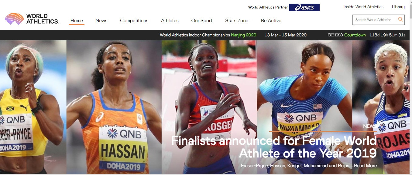 The most visible sign of the name change so far is the launch of a new website with a new URL ©World Athletics