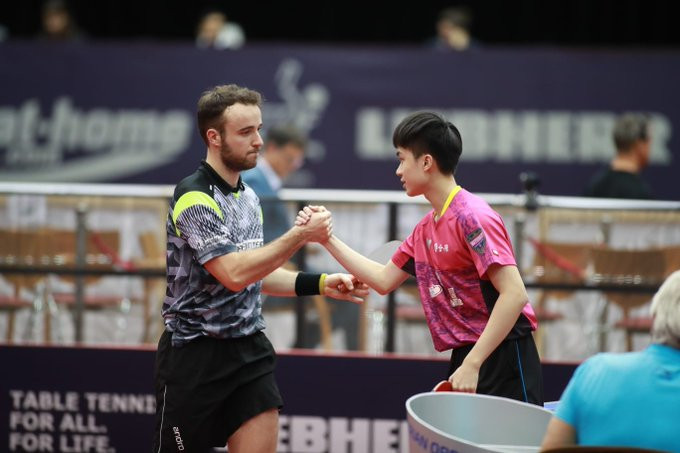 Lin Yun-ju of Chinese Taipei had to battle against Simon Gauzy of France at the ITTF Austrian Open ©ITTF