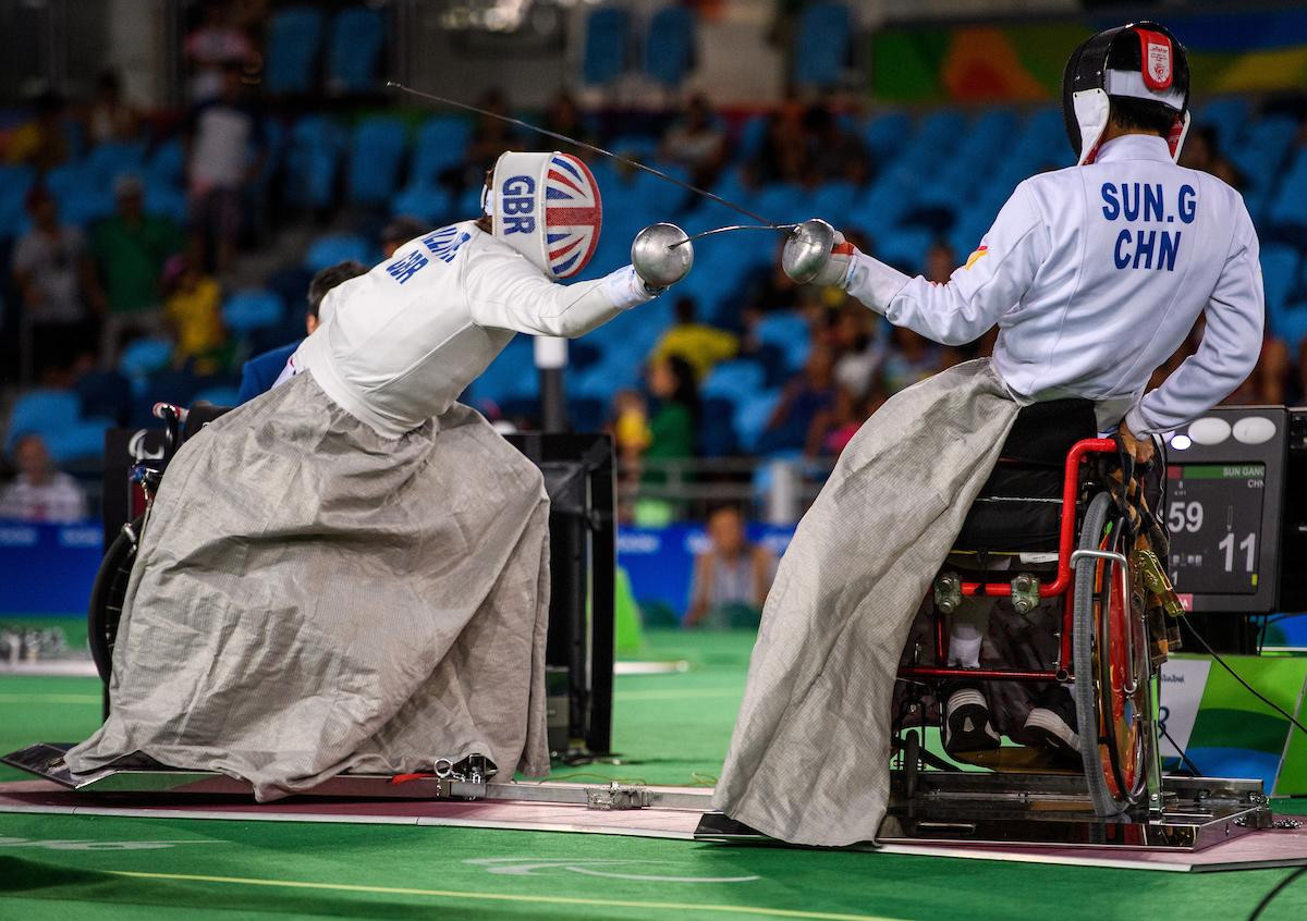 Sun Gang of China won gold at the IWAS Wheelchair Fencing World Cup in Amsterdam ©IPC