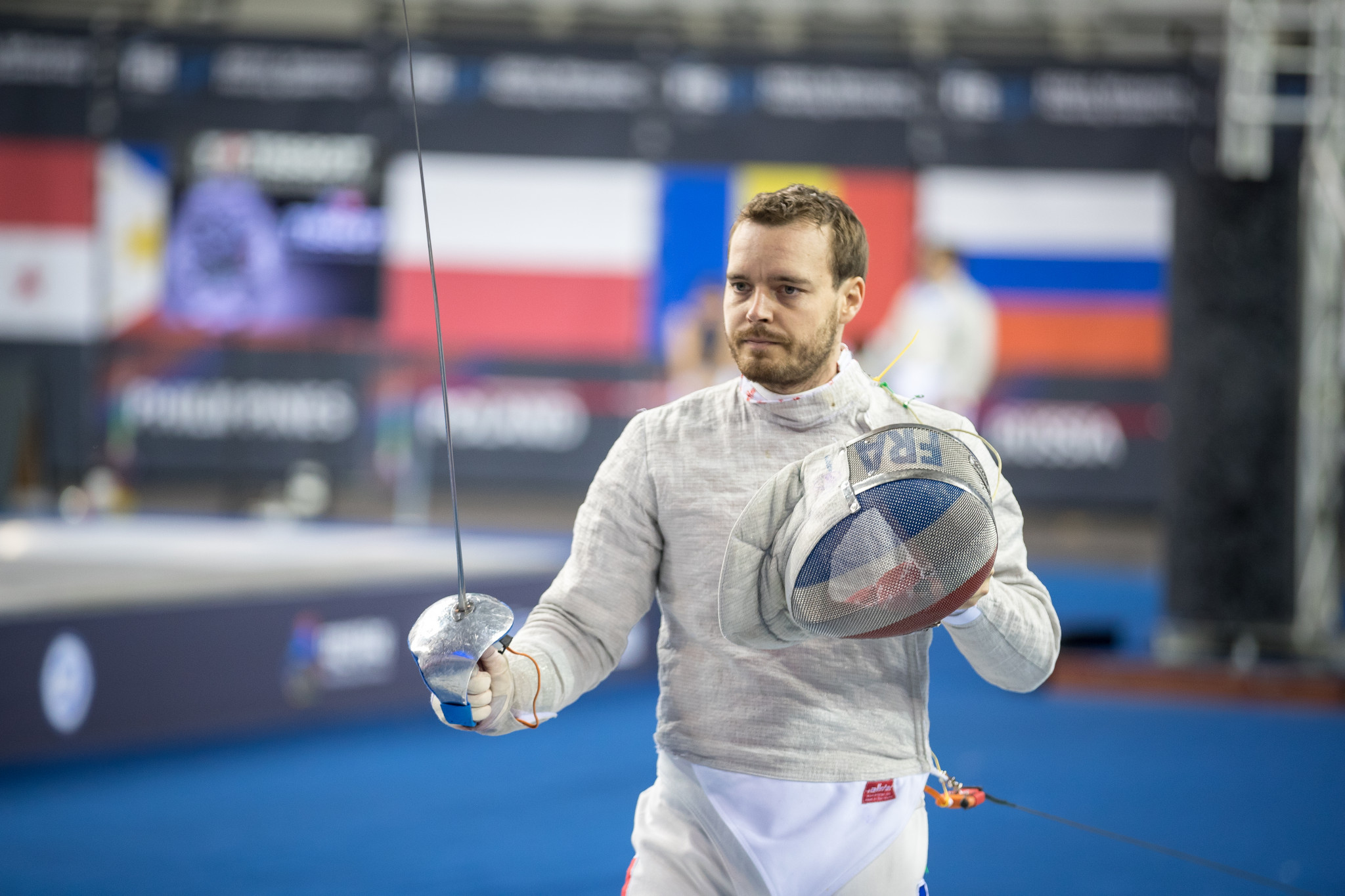 Vincent Anstett of France claimed the men's sabre World Cup with a 15-14 win over Italian Luigi Samuele ©Getty Images