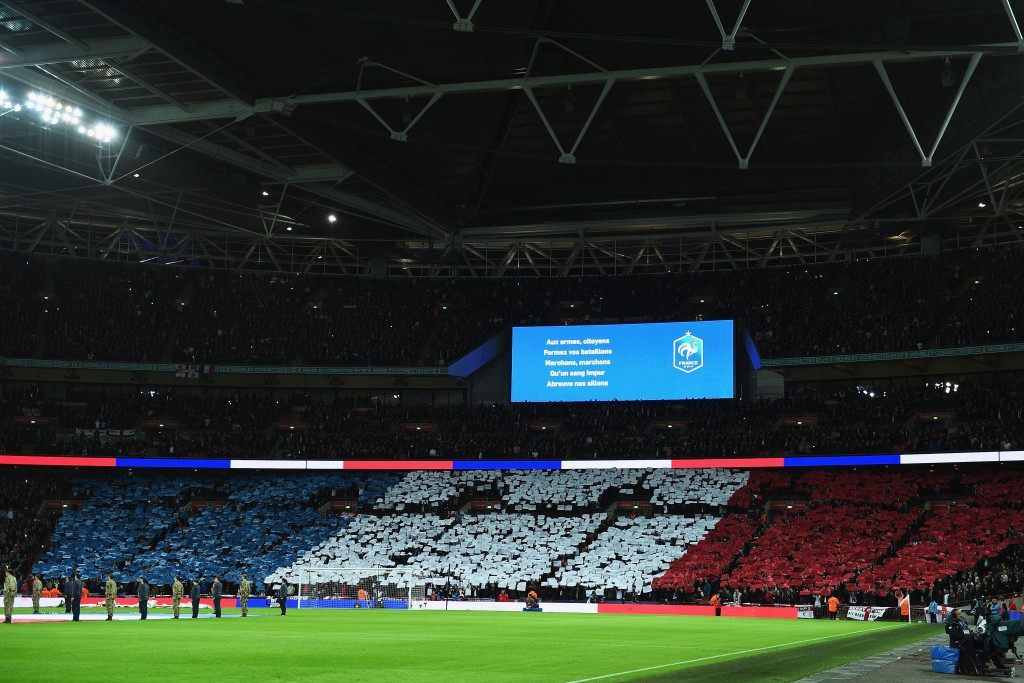 Fans at England's home friendly with France sung the French national anthem in a show of solidarity just days after 130 people were killed in terrorist attacks in Paris