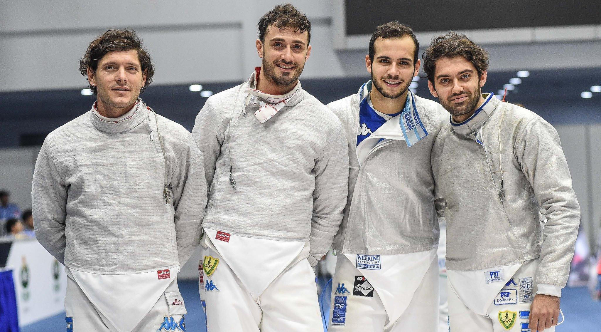 The Italian team of Enrico Berre, Luca Curatoli, Aldo Montano and Luigi Samuele defeated Russia to claim bronze in Cairo ©Italian Fencing Federation