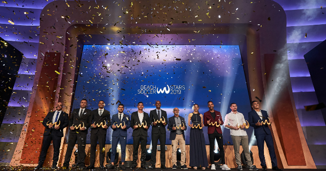 European Olympic Committees celebrate after Minsk 2019 honoured at Beach Soccer Worldwide Awards