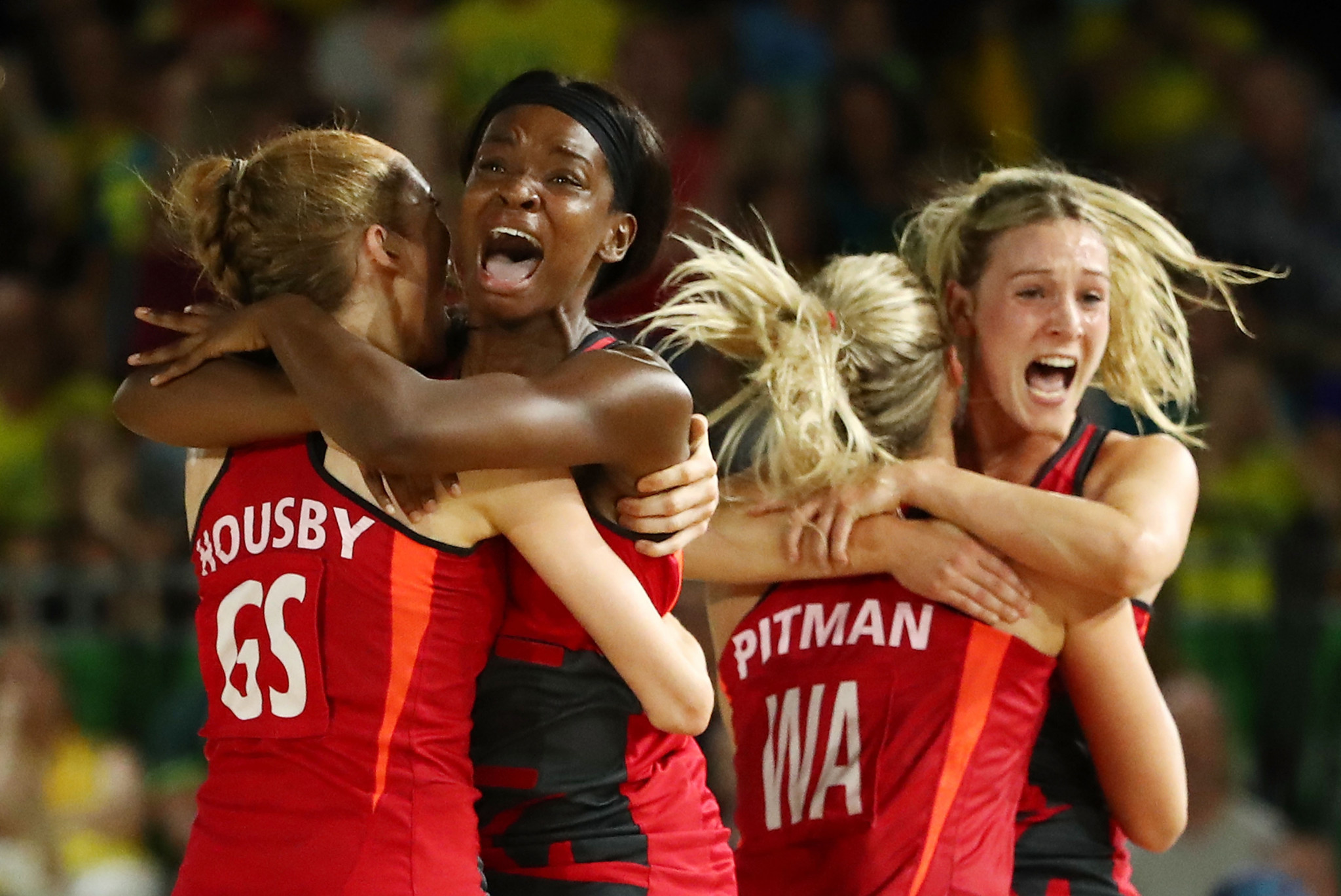 Jodie Gibson, second left, was part of England's netball team that won the Commonwealth Games gold medal at Gold Coast 2018 and has been included on the Athletes' Advisory Committee for Birmingham 2022 ©Getty Images
