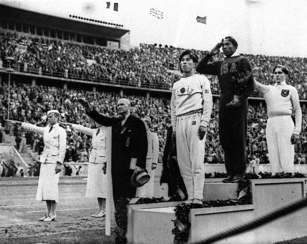 Jesse Owens' performances at Berlin 1936, including winning the long jump, are widely credited with destroying Adolf Hitler's claims of Aryan supremacy ©Getty Images