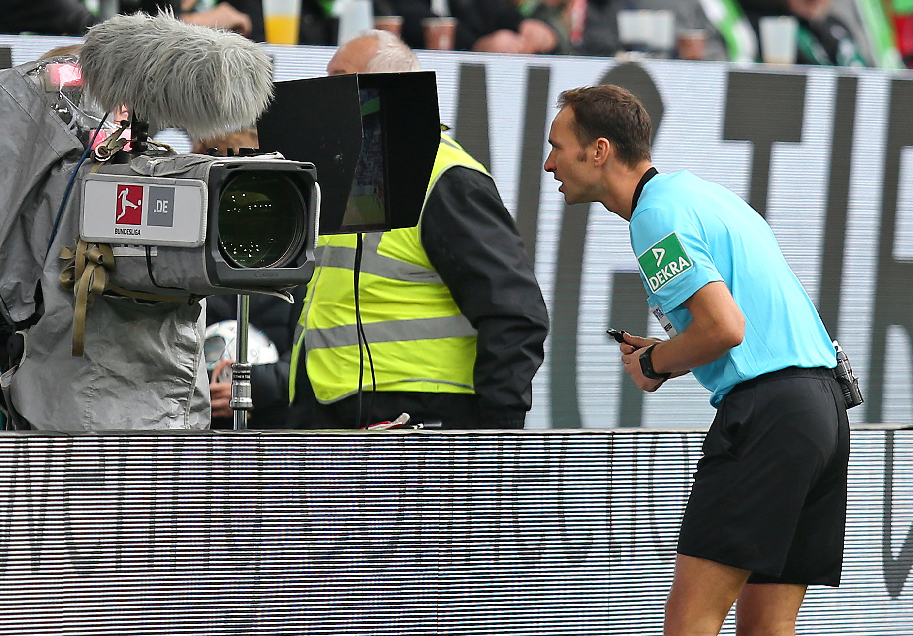 In leagues around Europe, the referee consults VAR directly via a pitch-side video ©Getty Images