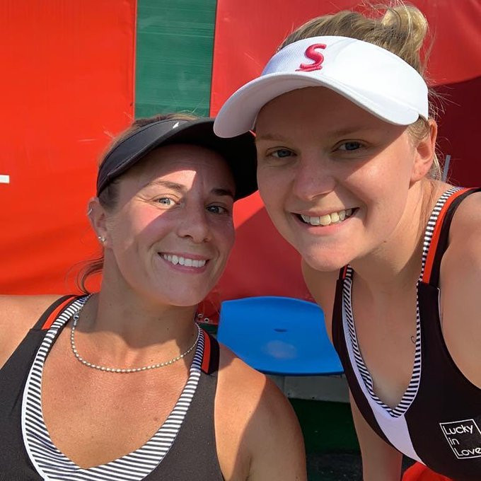 Great Britain's Lucy Shuker and Jordanne Whiley made a winning start to Group A in the women's doubles event ©Wheelchair Tennis (LTA)/Twitter