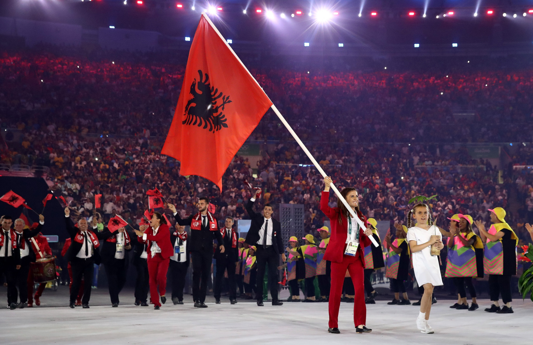 Flagbearer Luiza Gega leads Albania into the 2016 Rio Olympic Games ©Getty Images