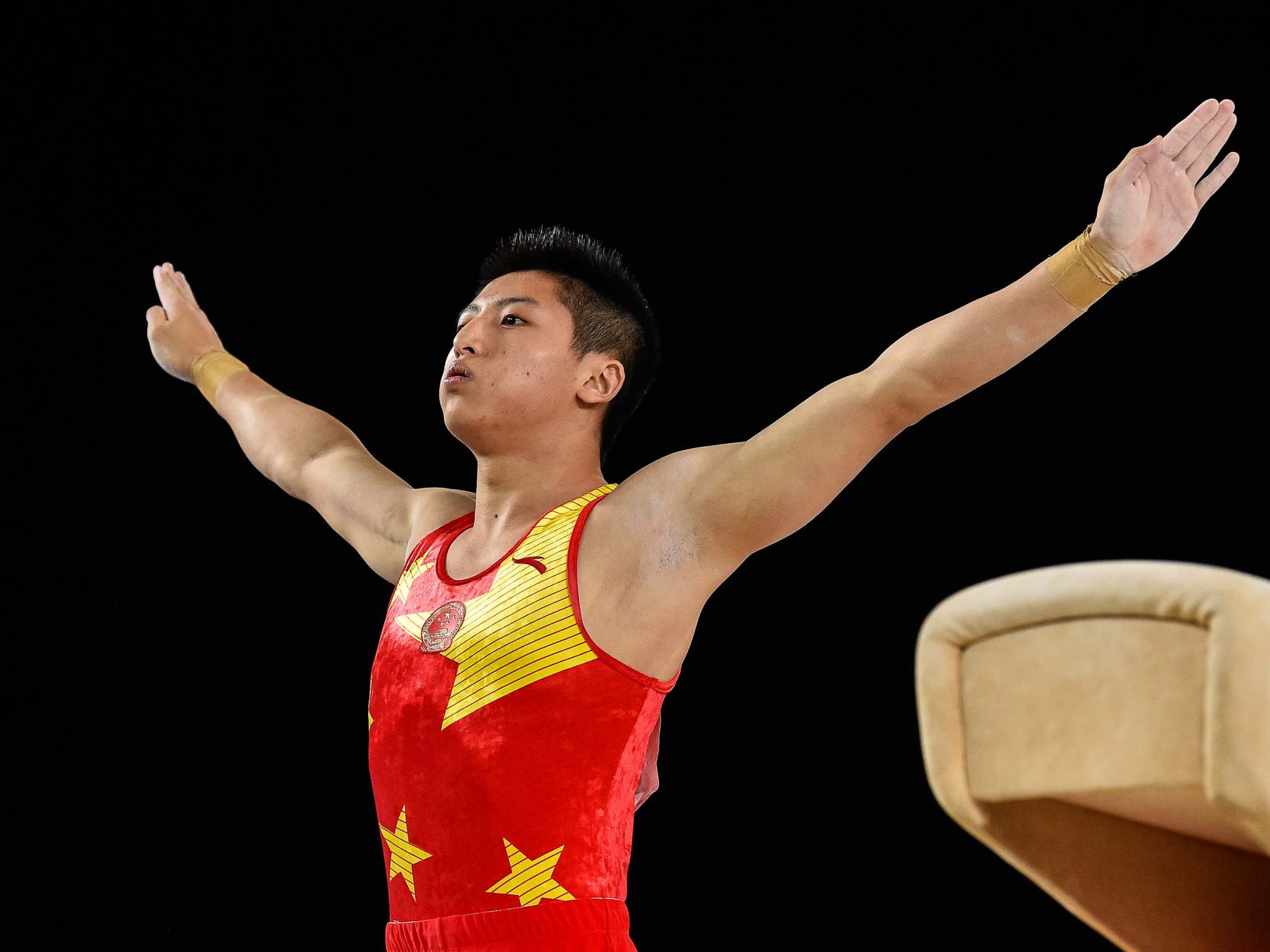 China's Hao Weng headed the men's pommel horse field ©Getty Images