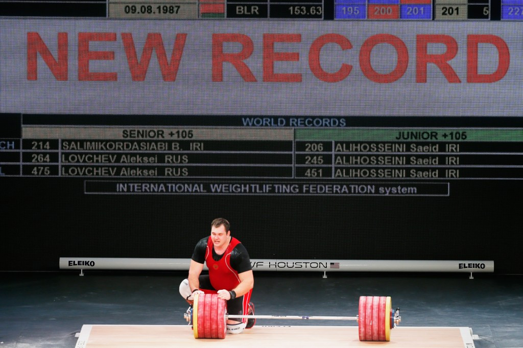 Russia's Aleksei Lovchev broke the men's over 105 kilogram clean and jerk and overall world records on his way to winning triple gold at the International Weightlifting Federation World Championships ©Getty Images