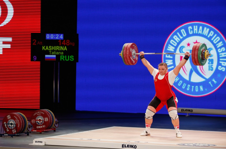 Russia's Tatiana Kashirina successfully defended her three world titles in the women's over 75kg category