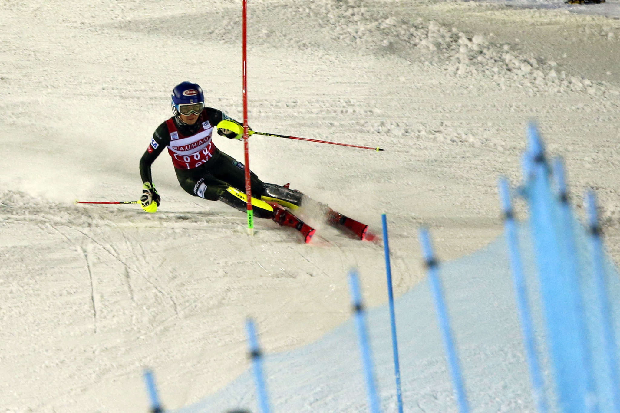 The American star overcame a first run deficit to break the record for most career slalom victories ©Getty Images