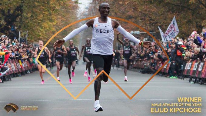 Eliud Kipchoge won the men's award ©World Athletics