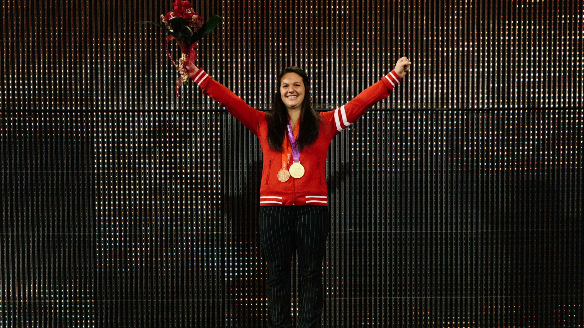 Canada's Christine Girard was presented with the Olympic gold medal from London 2012 last November after the two weightlifters in the under-63kg category ahead of her both tested positive for drugs ©Getty Images