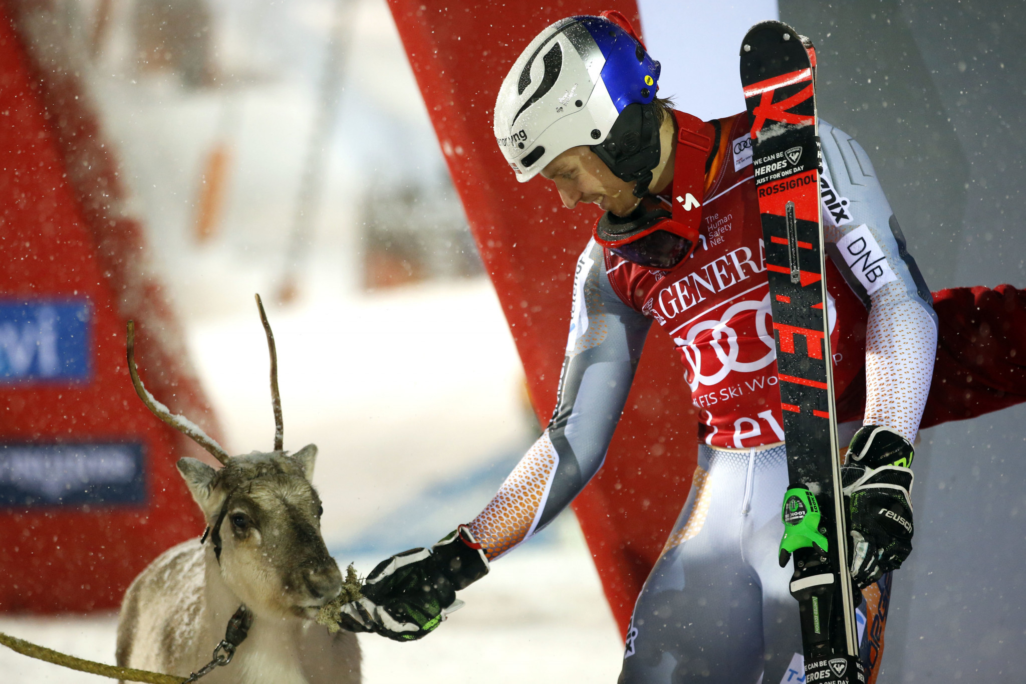 Henrik Kristoffersen received a reindeer as the prize for his victory ©Getty Images