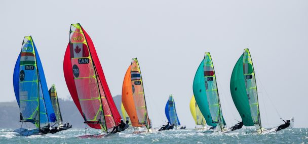 The first day of the 49er, 49erFX and Nacra 17 Oceania Championships took place in Auckland ©Oceania Championships