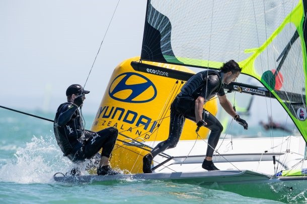 Peter Burling and Blair Tuke of New Zealand are currently in seventh place in the 49er class at the Oceania Championships ©Oceania Championships
