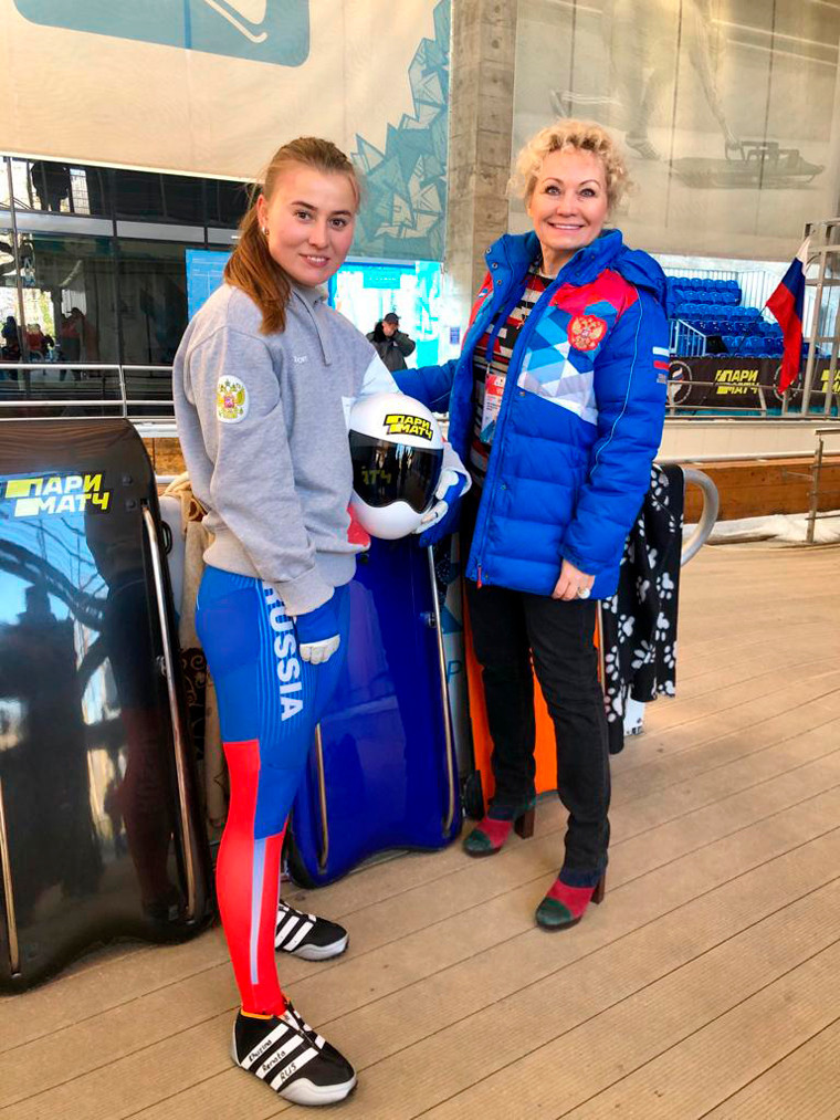 Russian Bobsleigh Federation President Elena Anikina, right, was pleased with the success of the IBSF Intercontinental Cup skeleton event in Sochi ©RBF