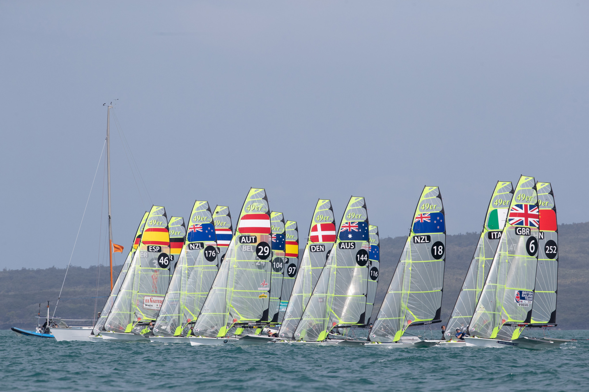 Benjamin Bildstein and David Hussle of Austria lead the 49er event at the Oceania Championships ©Oceania Championships