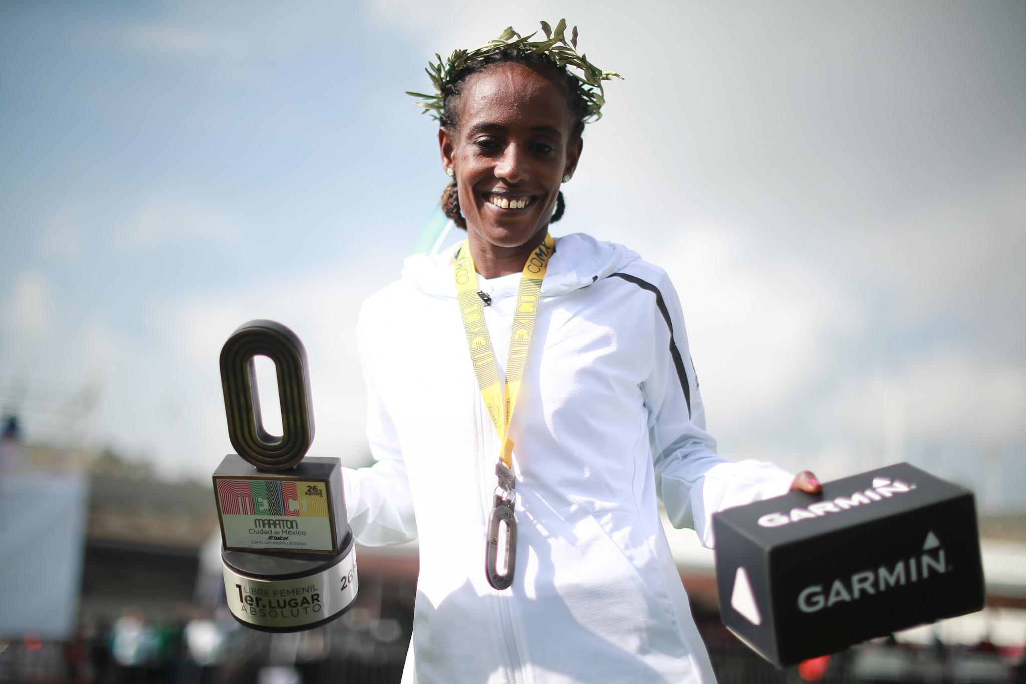 Etaferahu Temesgen Wodaj of Ethiopia won the Ciudad de México Marathon in 2018 ©Getty Images
