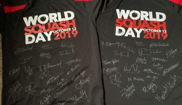 World Squash Day T-shirts have been signed by a number of PSA stars ©PSA