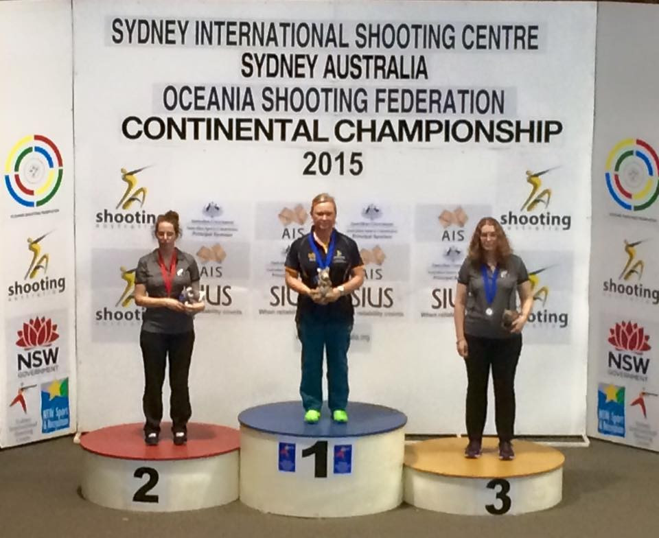 Australia's Lalita Yauhleuskaya (centre) was among the home winners today in the 10m air pistol final at the Oceania Shooting Championships in Sydney ©Shooting Australia