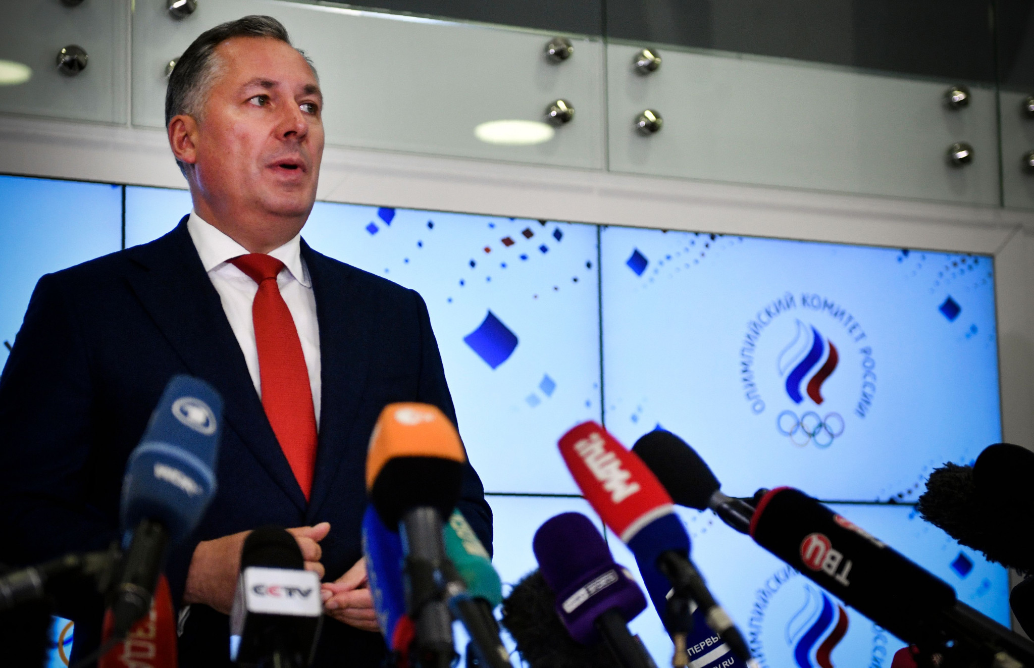 Stanislav Pozdnyakov addressed the media after an ROC meeting in Moscow ©Getty Images