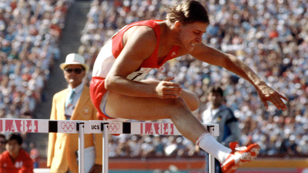 Jeff Glass competed in the 110 metres hurdles final at the Los Angeles 1984 Olympics ©COC