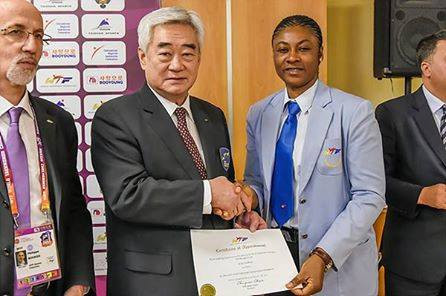 Nigerian Taekwondo Federation President Margaret Binga, right, with World Taekwondo President Chungwon Choue ©NTF