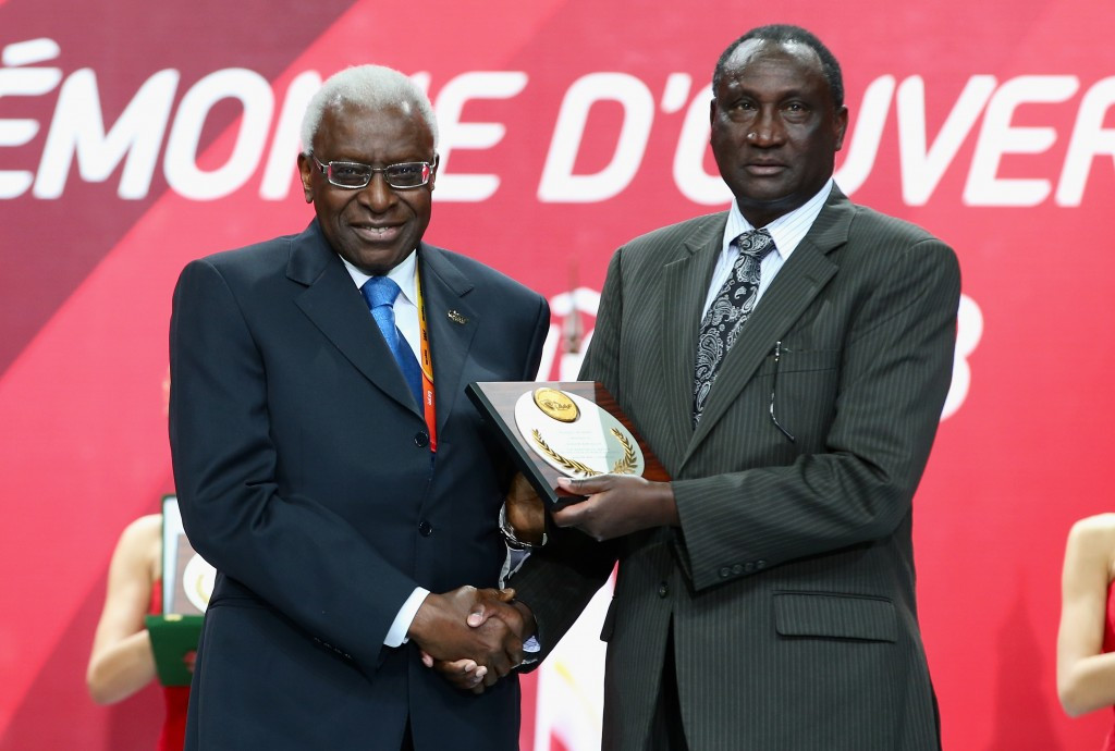 Athletics Kenya President Isaiah Kiplagat (right), pictured with disgraced former IAAF head Lamine Diack, could also be sanctioned next week ©Getty Images