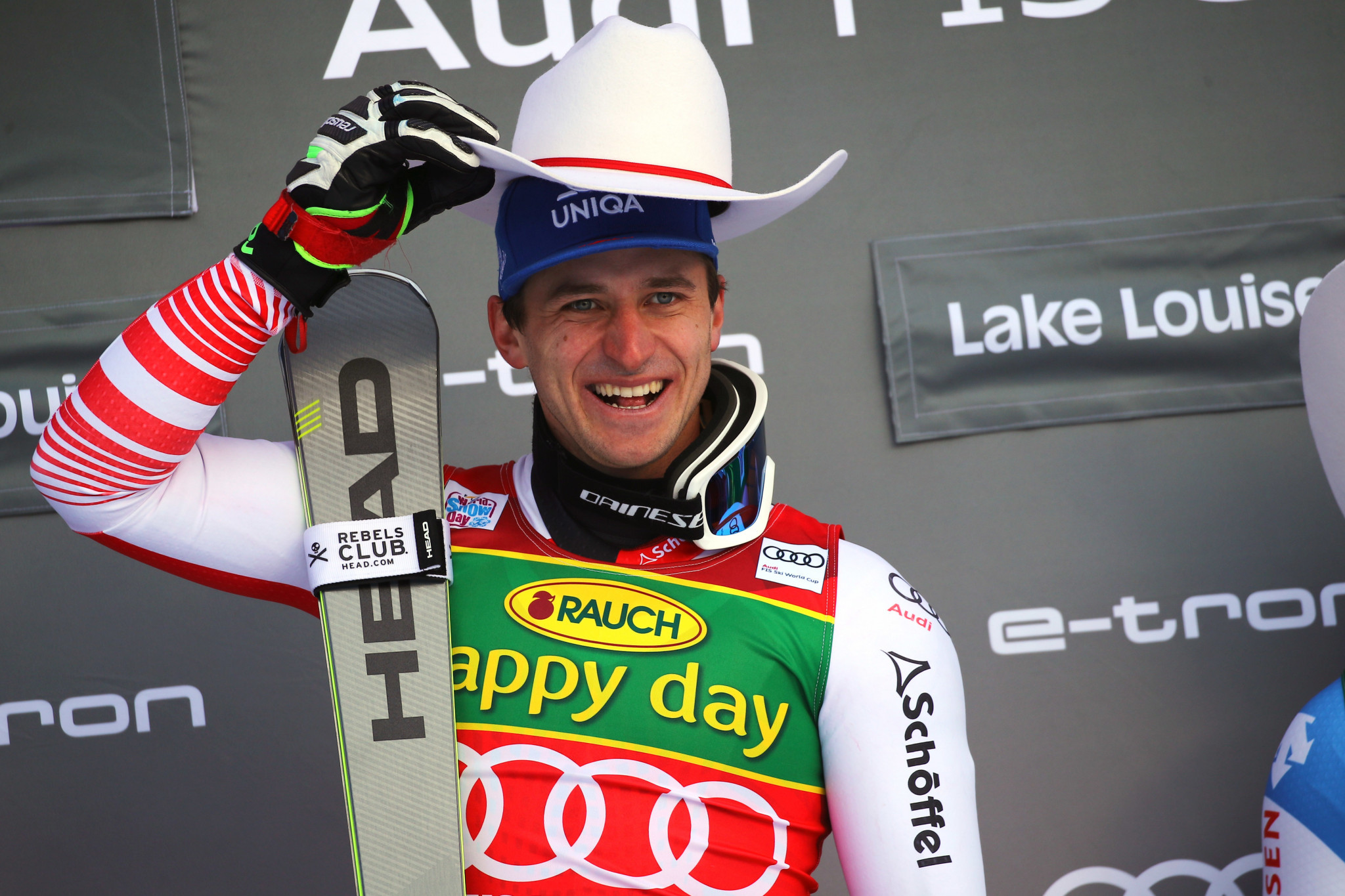 Double Olympic champion Mattias Mayer won the opening super-G  of the men's season ©Getty Images