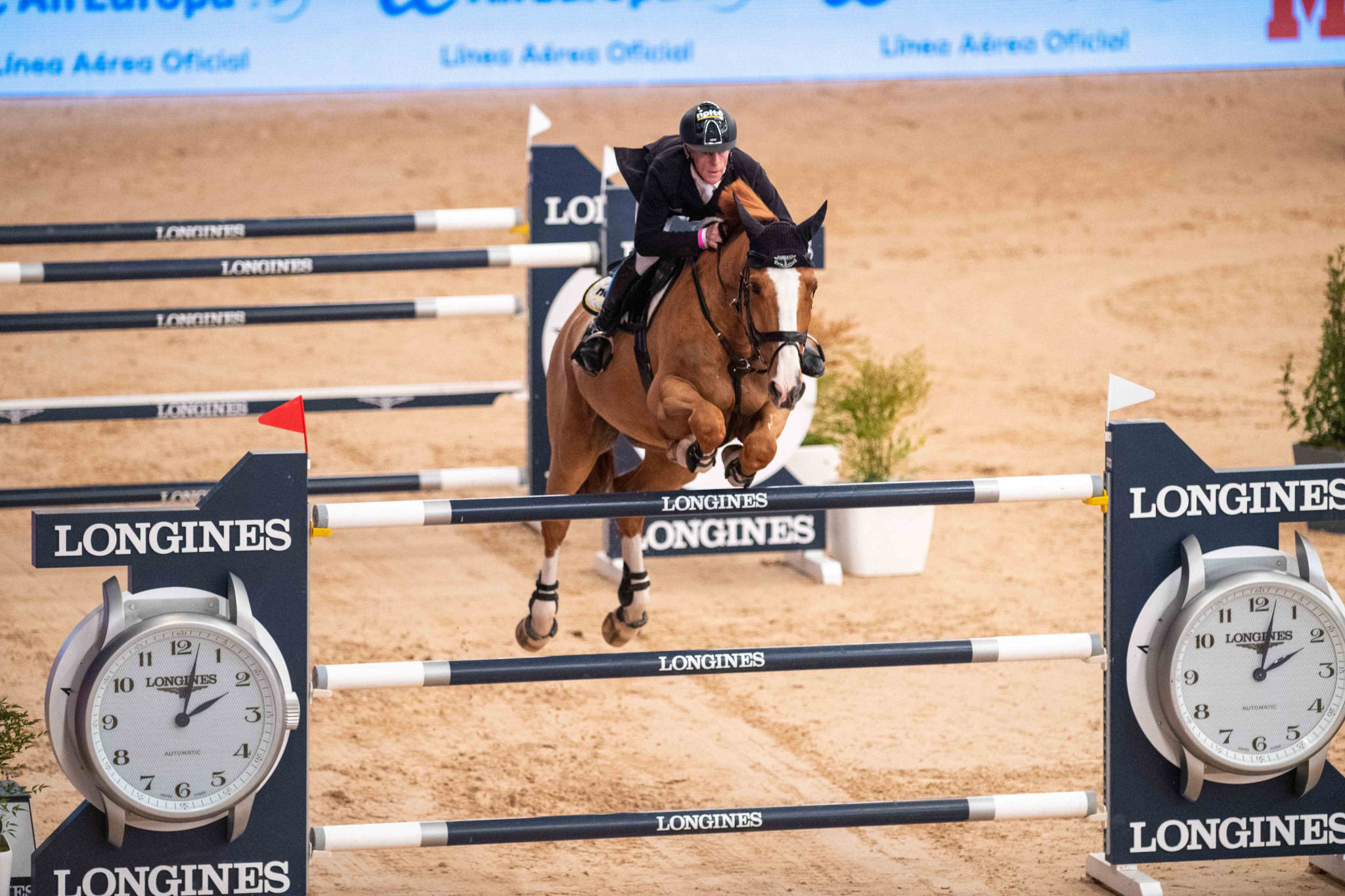 Germany's Marcus Ehning flew to victory with Pret a Tout in today's FEI Jumping World Cup Western European League qualifier in Madrid ©FEI/Thomas Reiner