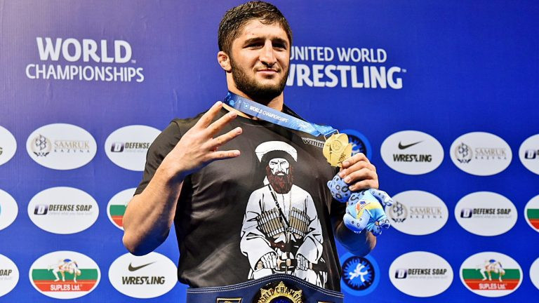 Russia's Abdulrashid Sadulaev was donning a tee-shirt with an image of Imam Shamil during the 97kg award ceremony at this year's World Wrestling Championships ©UWW