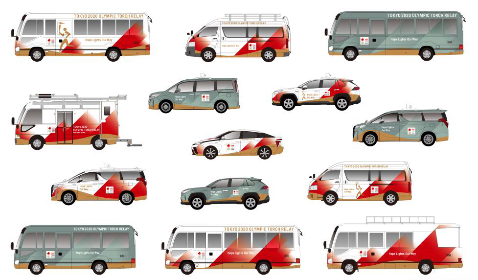Each vehicle will have a different role in the Torch Relay, according to Tokyo 2020 ©Tokyo 2020