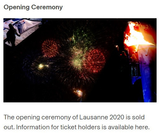 The Lausanne 2020 Opening Ceremony sold out in two hours ©Lausanne 2020