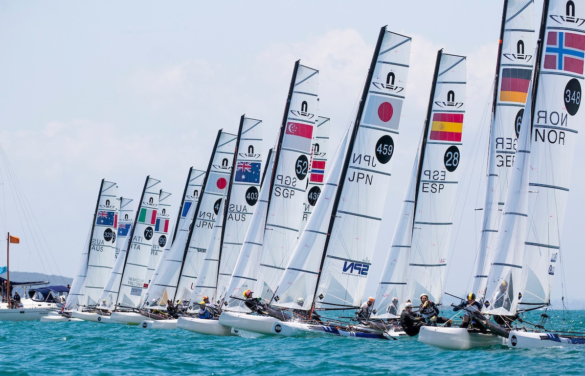 The winds died down in Auckland to allow a full day's racing ©49er Class