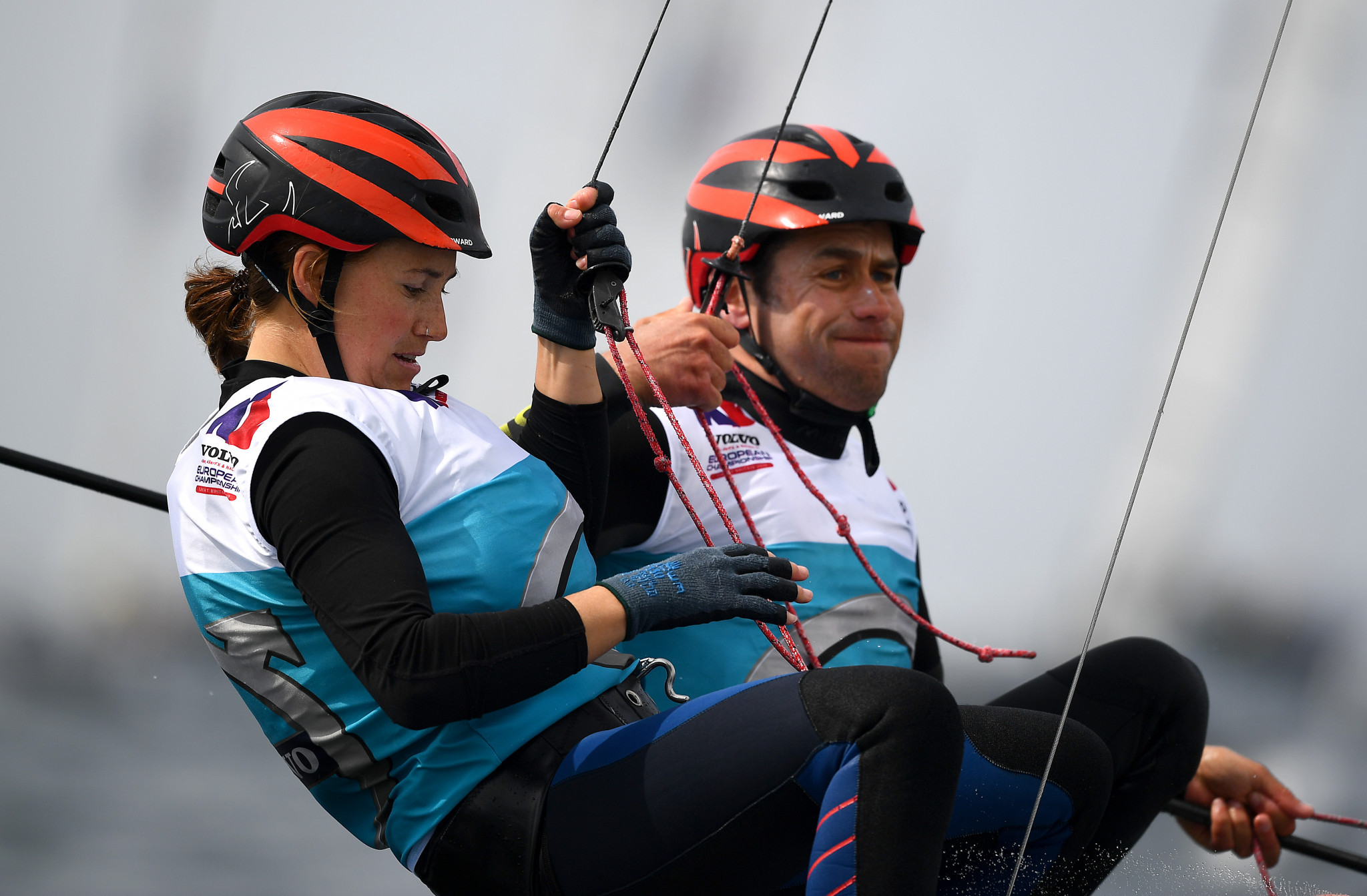 John Gimson and Anna Burnet of Britain lead the Nacra 17 class ©Getty Images