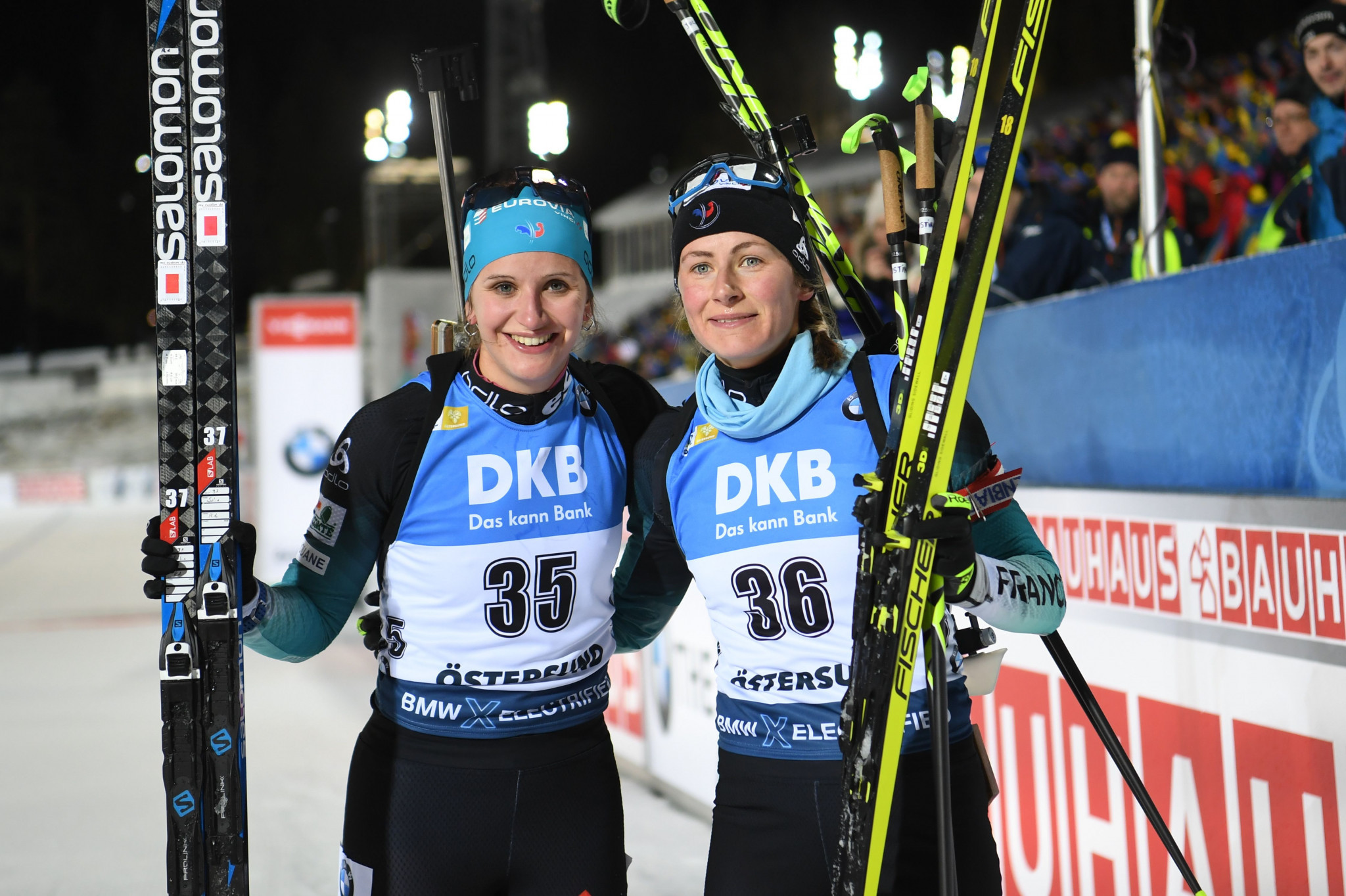 France's Justine Braisaz, right, and compatriot Julia Simon ranked first and third, respectively, in the women's 15km individual competition ©Getty Images