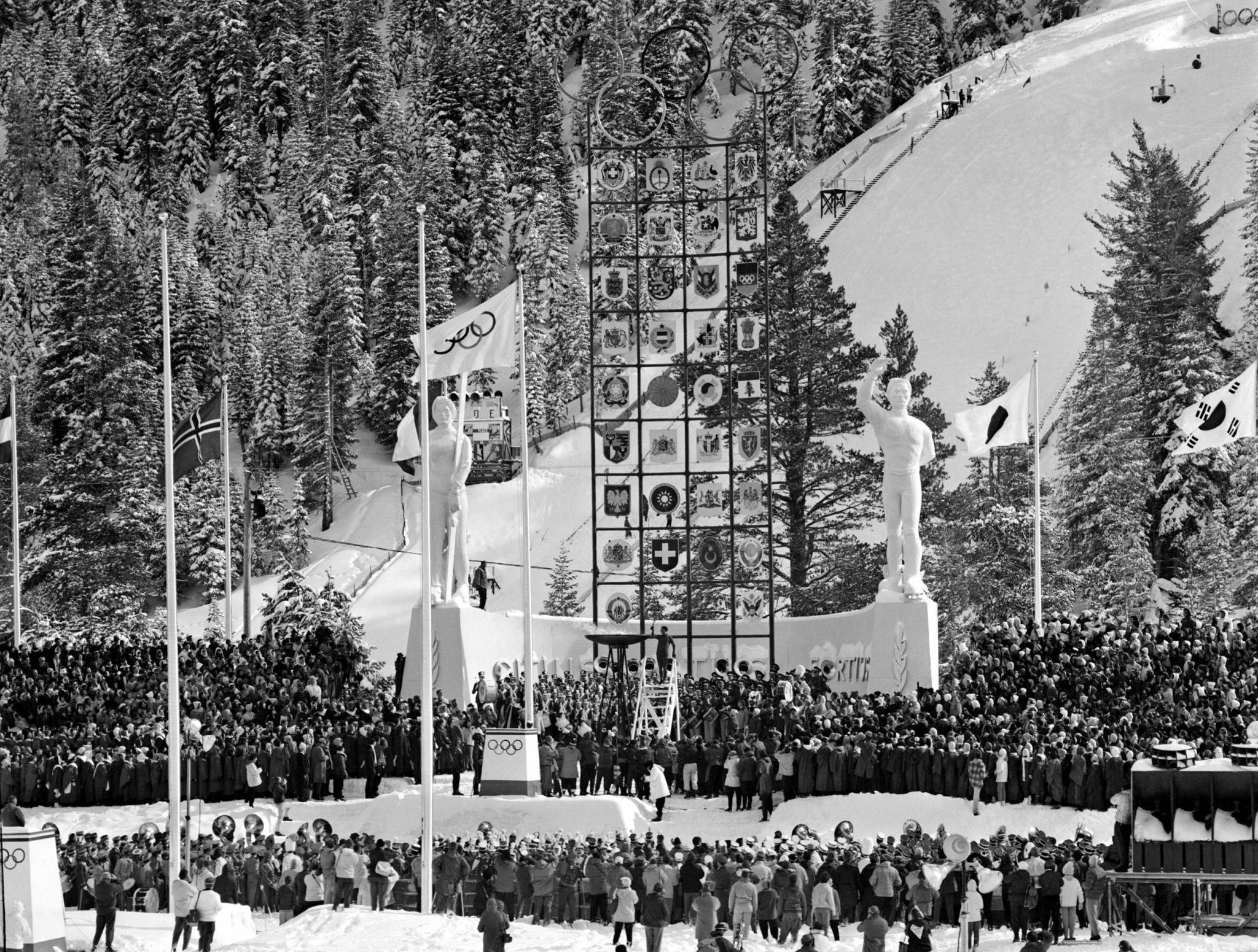 The Olympic flame is lit at Squaw Valley ©Getty Images