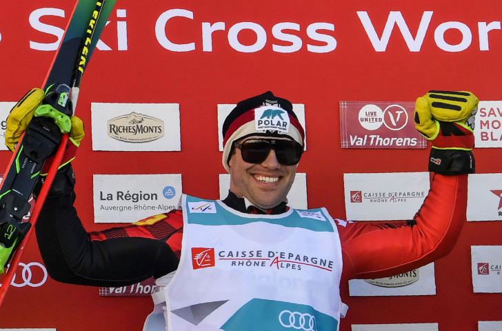 Canada's Kevin Drury celebrates his victory in the opening FIS Ski Cross World Cup of the season in the French resort of Val Thorens ©Getty Images